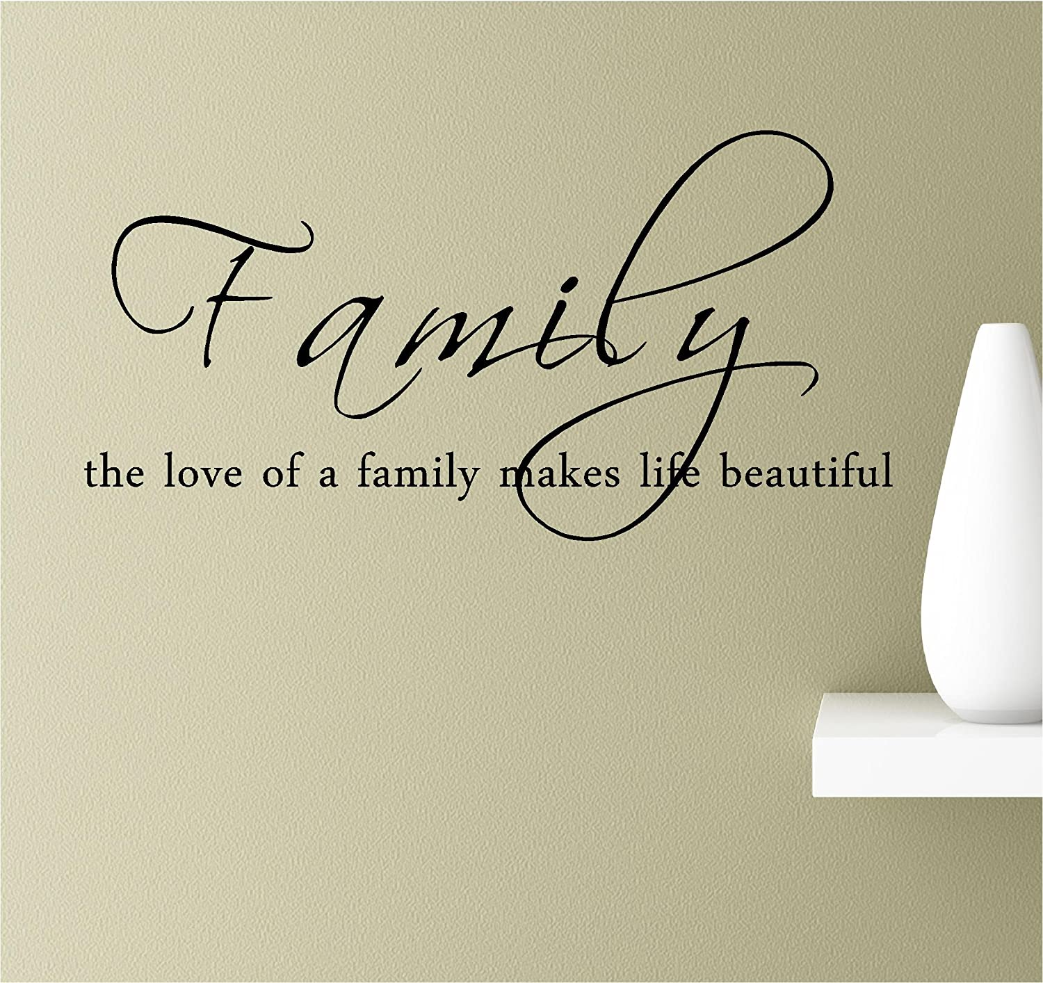 Southern Sticker Company Family The Love of a Family Inspirational Wall Quotes Sayings Vinyl Decals Art (Black)