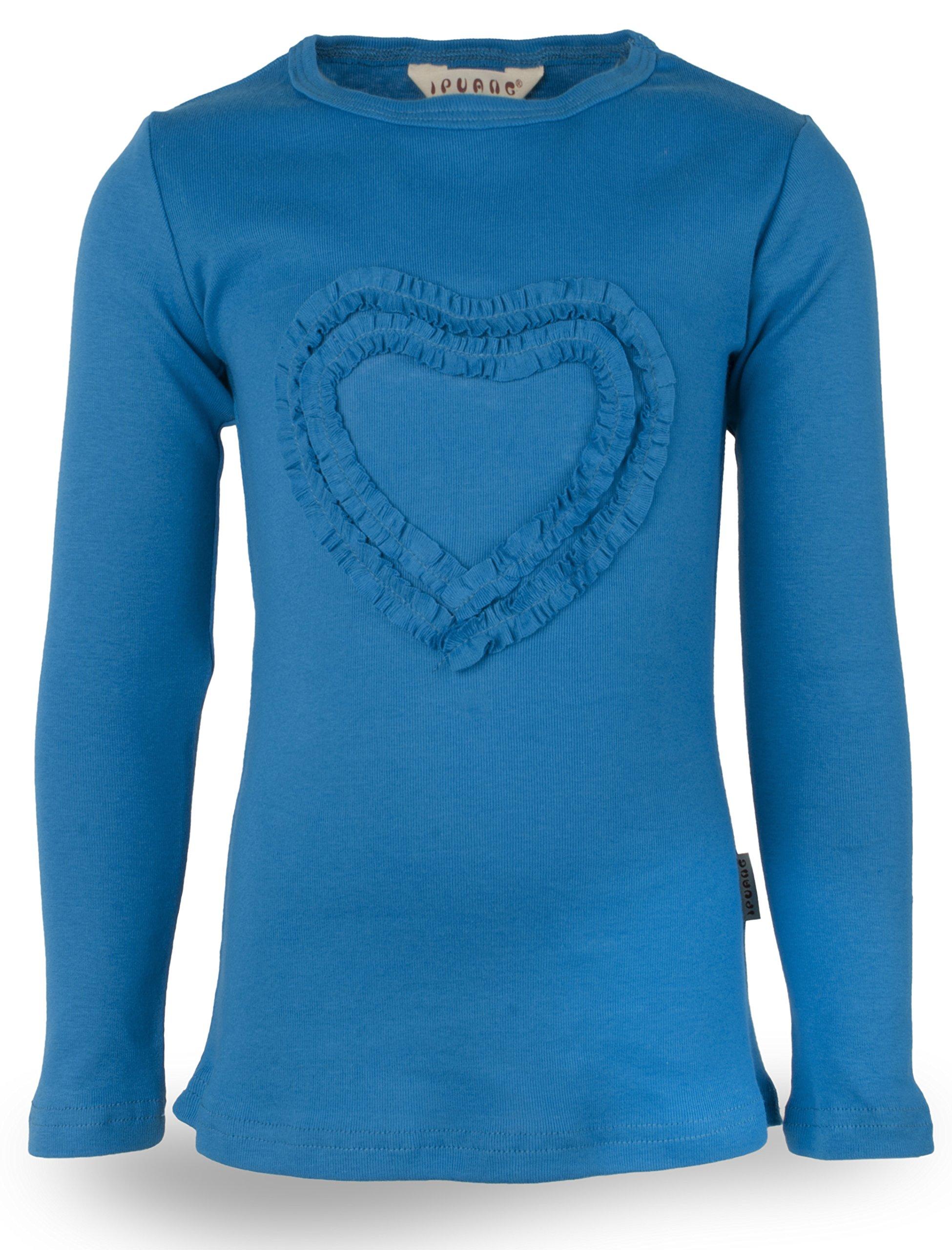 Ipuang Big Girls' Heart-Shaped Long Sleeve T-Shirt 8 Vivid Blue by Ipuang (Image #2)