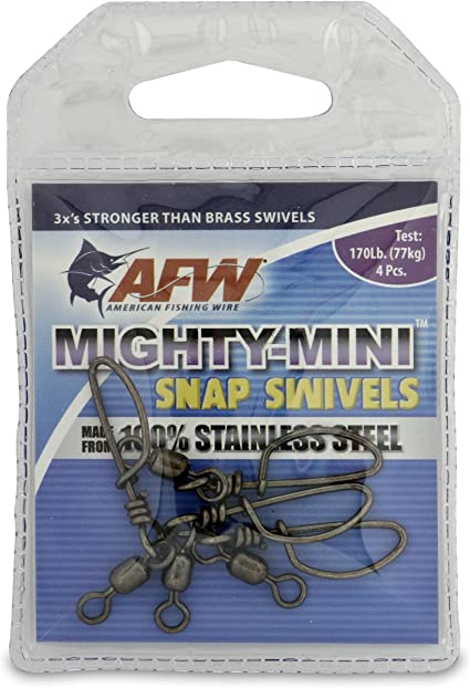 American Fishing Wire Mighty Mini Snap Swivels 100-Percent Stainless Steel