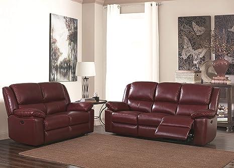 SC Furniture Ltd Burdeos Rojo Alta Calidad Piel Manual ...