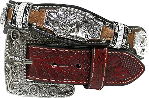 New Mens Western Cowboy Cowgirl Silver Longhorn Texas Star Rodeo Concho Shiny Cowhair Leather Belt