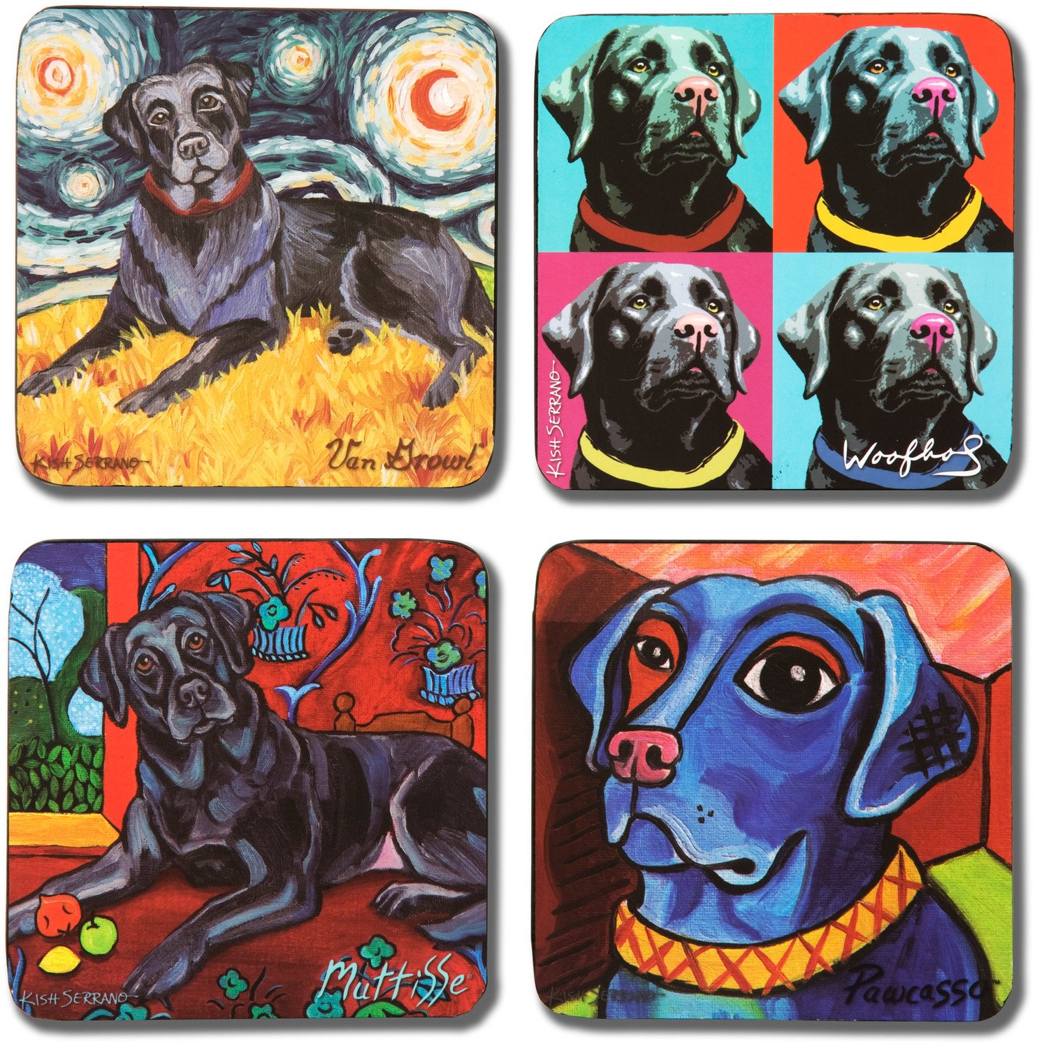 Pavilion Gift Company 12074 Paw Palettes ''Black Lab'' Coaster, 4 by 4-Inch, Set of 4