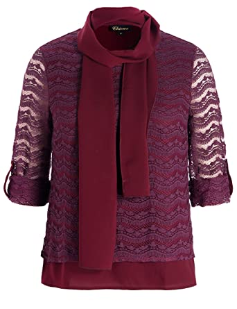 38f51922be622 Chicwe Women s Plus Size Lined Textured Lace Top Blouse with Scarf 1X Plum