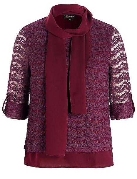 Chicwe Blusas Tops Túnicas Tallas Grandes Mujeres Encaje de Textura Camisa con Bufanda Púrpura 1X
