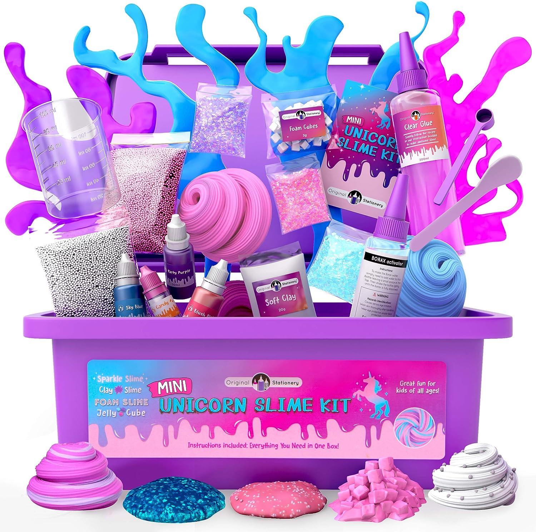 Original Stationery Mini Unicorn Slime Kit for Girls - Kids Can Make Unicorn Sparkle, Clay, Foam, Je…