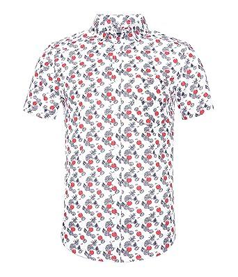 986a85177e3 NUTEXROL Men s Hawaiian Flower Print Casual Button Down Short Sleeve Shirt(White  ...