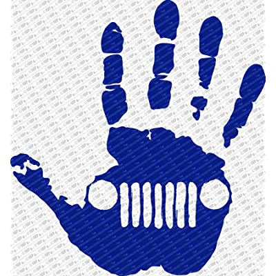 "Collectible Decals Jeep Wave Hand Vinyl Decal Sticker fits Jeep Wrangler Rubicon JK TJ YJ CJ (6"", Navy Blue): Automotive"
