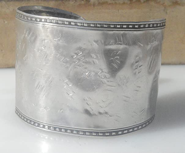 Deluxe Adult Costumes - Men's handcrafted sterling silver hammered, distressed, embossed, rustic wide cuff bracelet.