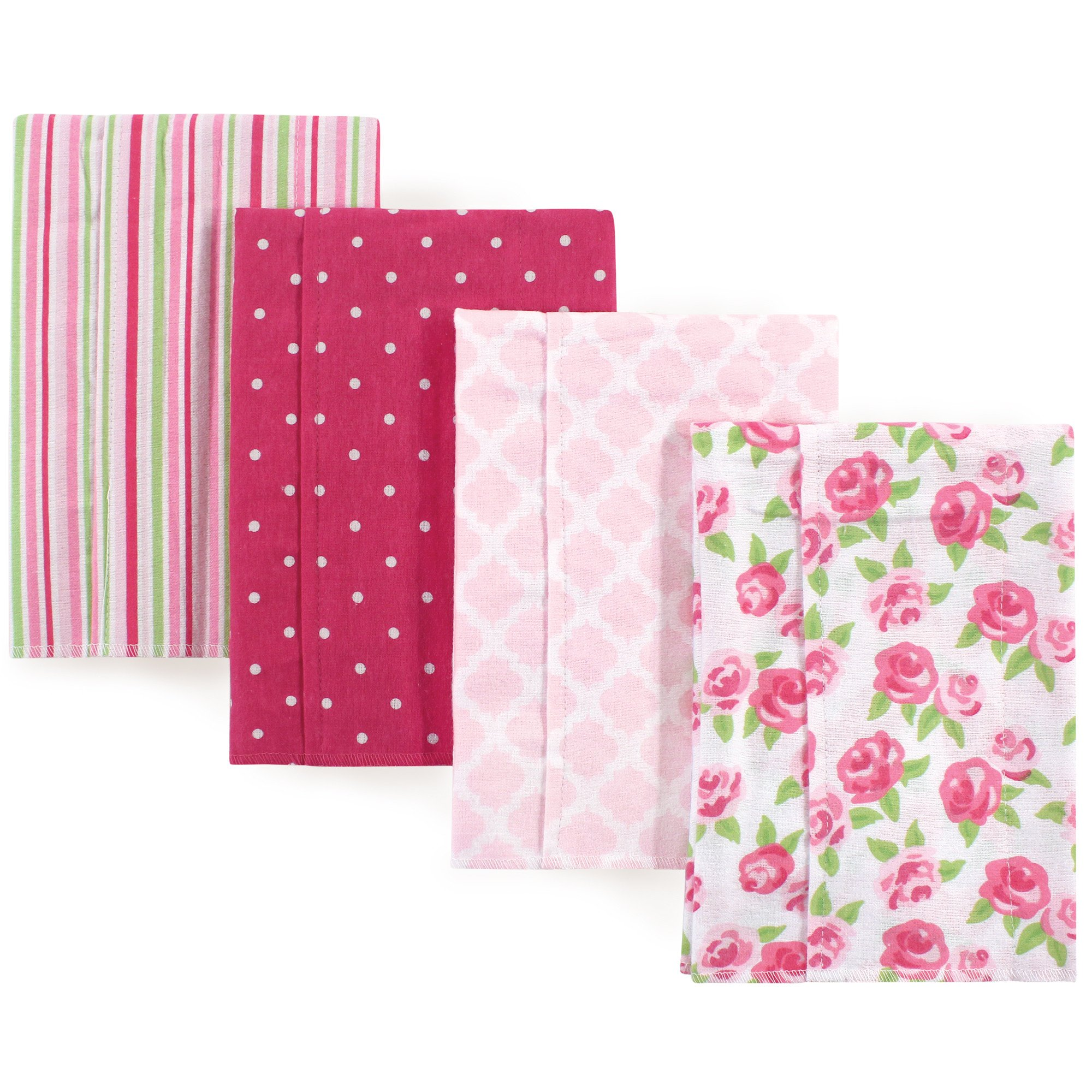 Hudson Baby Layered Flannel Burp Cloth, Rose Pack, One Size