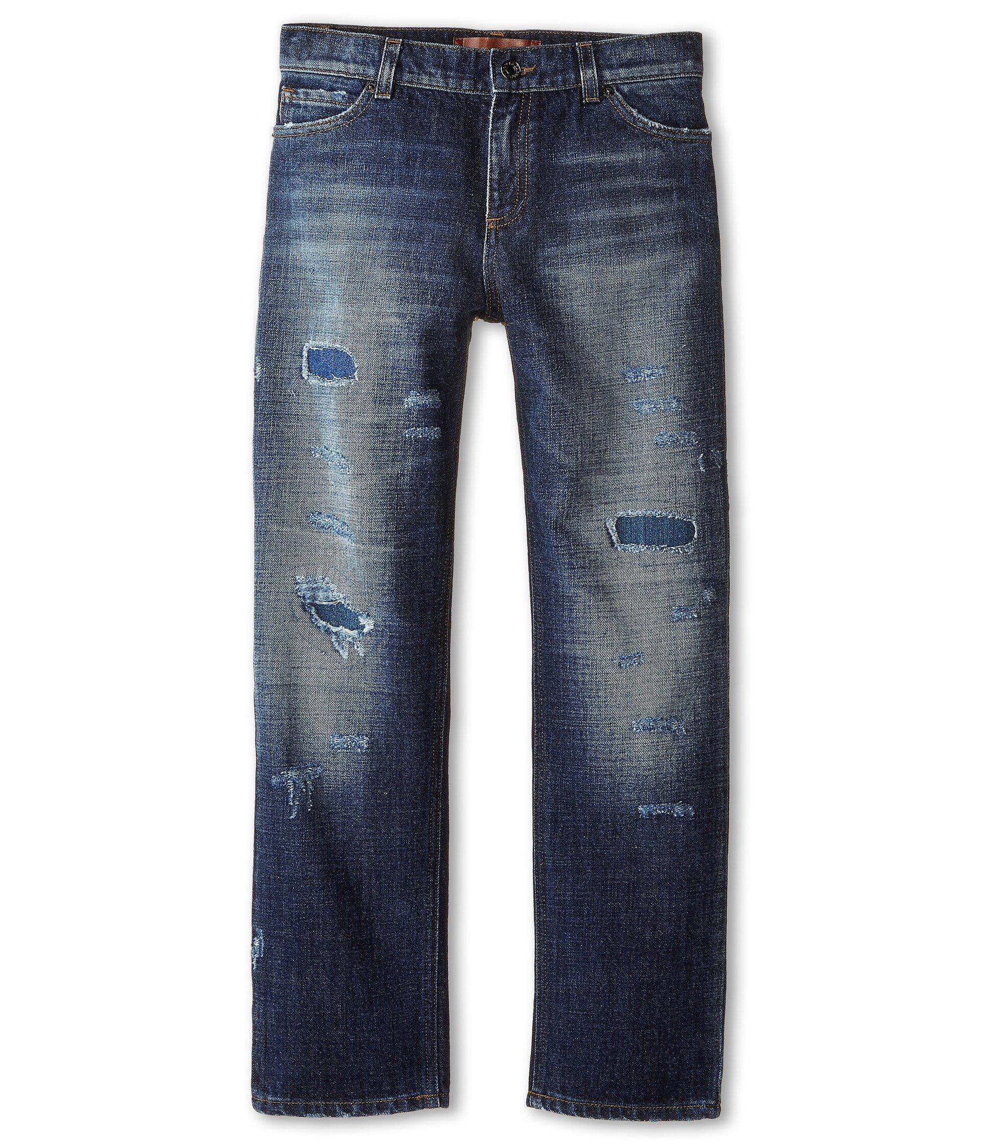 Dolce & Gabbana Kids Boy's Distressed Five-Pocket Jeans in Blue Denim/Blue (Big Kids) Blue Denim/Blue Jeans