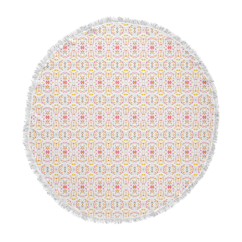 Kess InHouse Carolyn Greifeld Bright Modern Shabby Pink Pattern Round Beach Towel Blanket