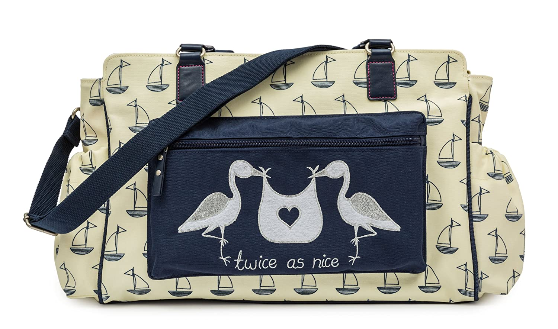 Neu Pink Lining Wickeltasche Twins Bag Twice as Nice Garden Birds