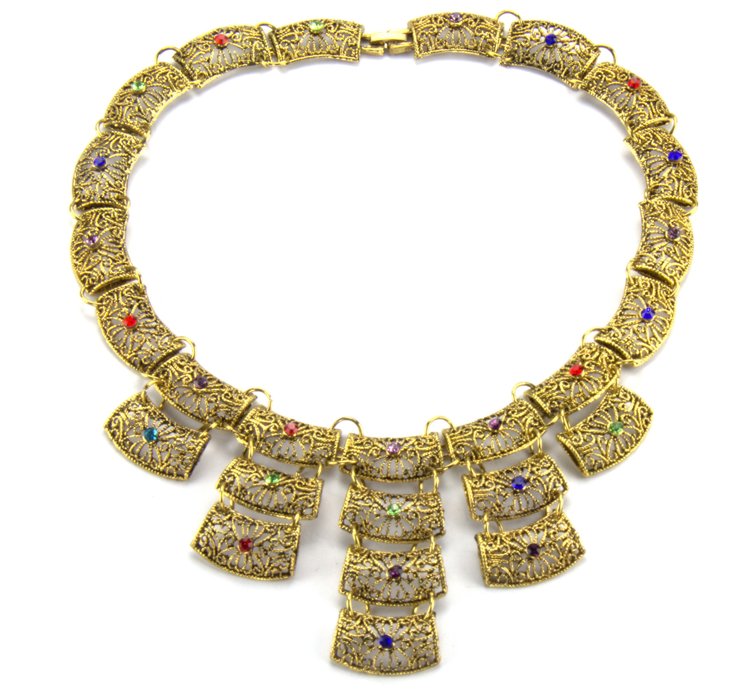 18'' Inch Antiqued Gold Finish Filigree Floral Flower Retro Vintage Art Deco Chunky Statement Necklace, Blue Red & Green Crystal CZ Accents
