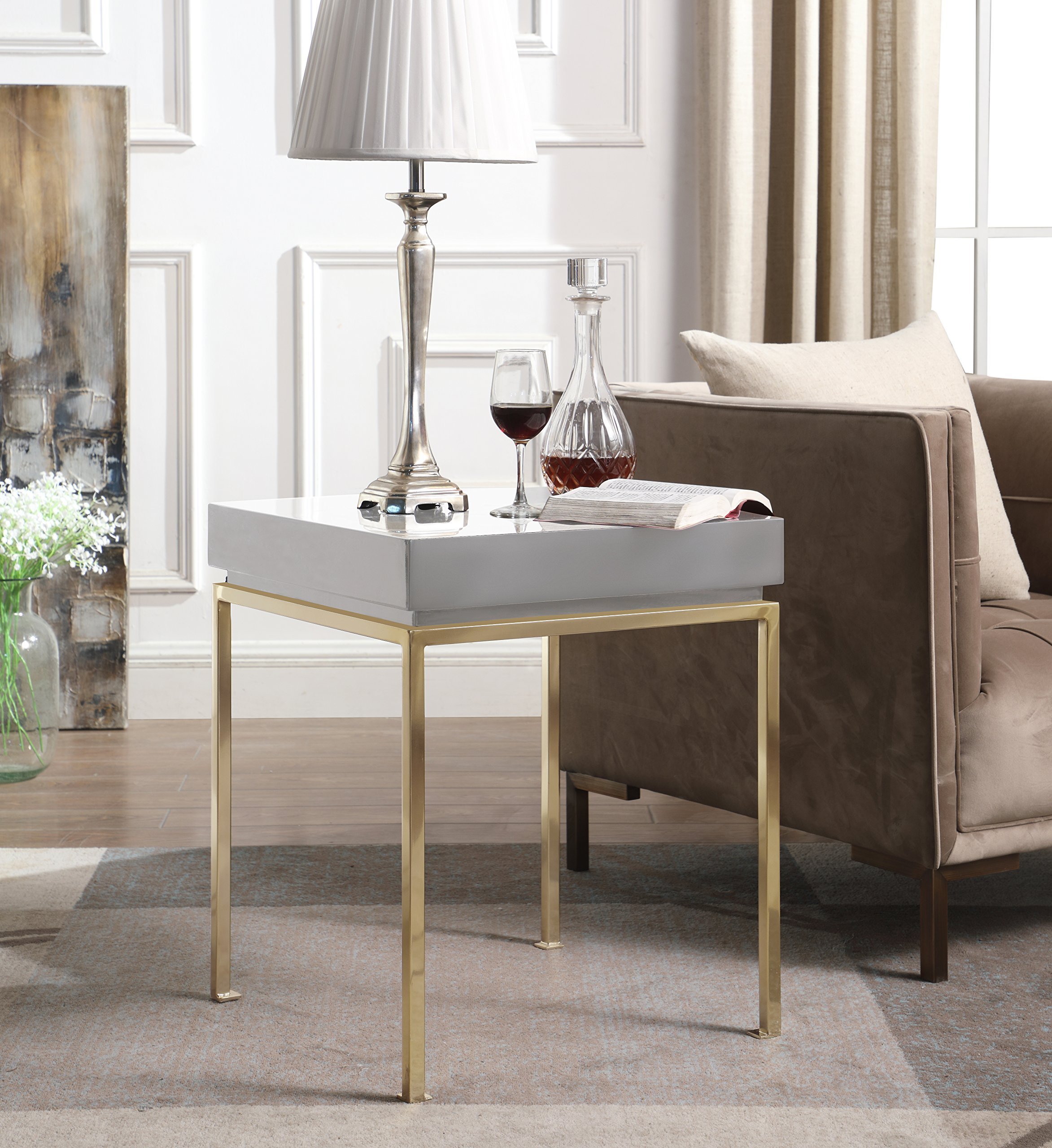 Iconic Home Cannes Nightstand Side Table Square Frame High Sheen Lacquer Finsh Top Gold Plated Metal Legs, Modern Contemporary, Grey by Iconic Home