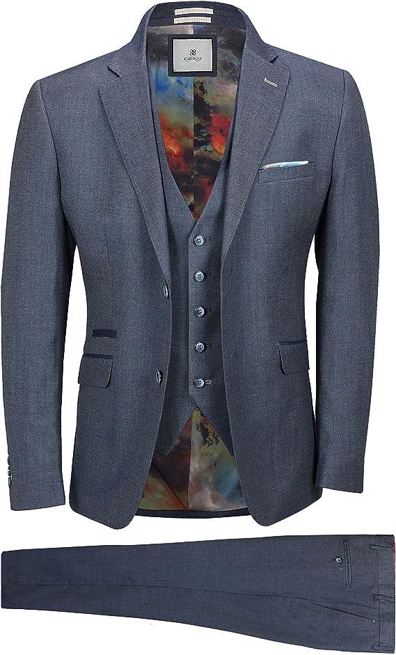 mens 3 piece black suits Cavani blazers trouser waistcoats party designer jacket