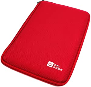 DURAGADGET Red Rigid Protective Zip Armoured Case with Soft Inner Lining & Netted Pocket for Dell Venue 8, TabletExpress Allwinner A20 & DMG T909 Tablets
