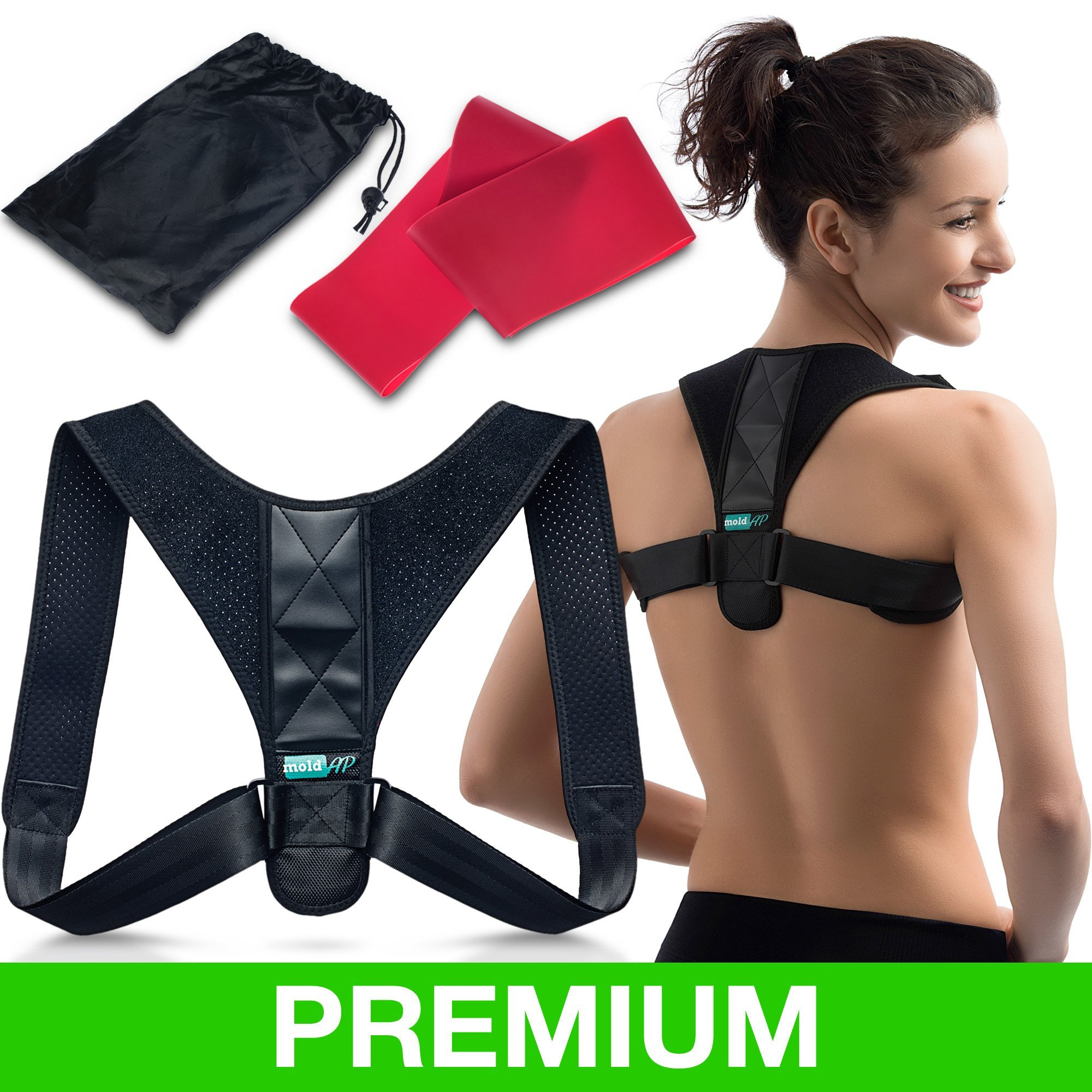 Orthopedic Posture Corrector for Women & Men | Adjustable Thoracic Back Brace for Perfect Posture | Comfortable Clavicle Support |FDA APPROVED| | Resistance Band & Bag INCLUDED by moldAP