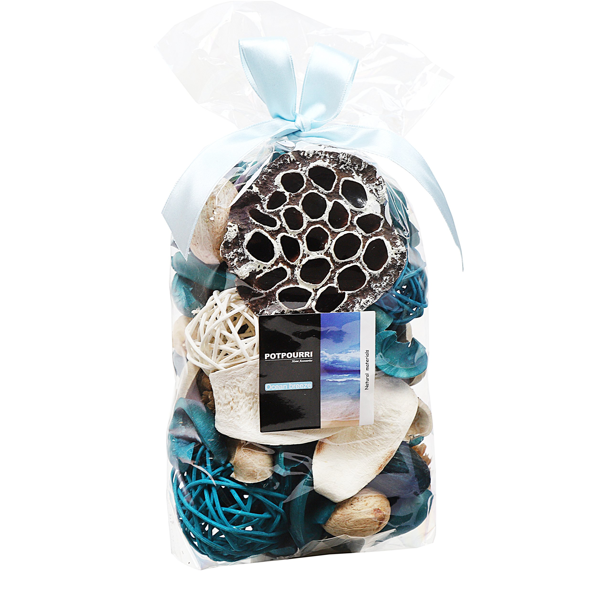Qingbei Rina Ocean Scent Summer Potpourri Bag Decorative Perfume Sachet, Rattan Balls Lotus Pods Pine Cones Dried Flowers and Plants, 9.9 Ounce Turquoise Blue by Qingbei Rina (Image #1)