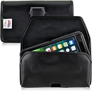 product image for Turtleback Holster Compatible with Apple iPhone 8 Plus & iPhone 7 Plus w/Otterbox Defender case Black Belt Case Leather Pouch with Executive Belt Clip Horizontal Made in USA
