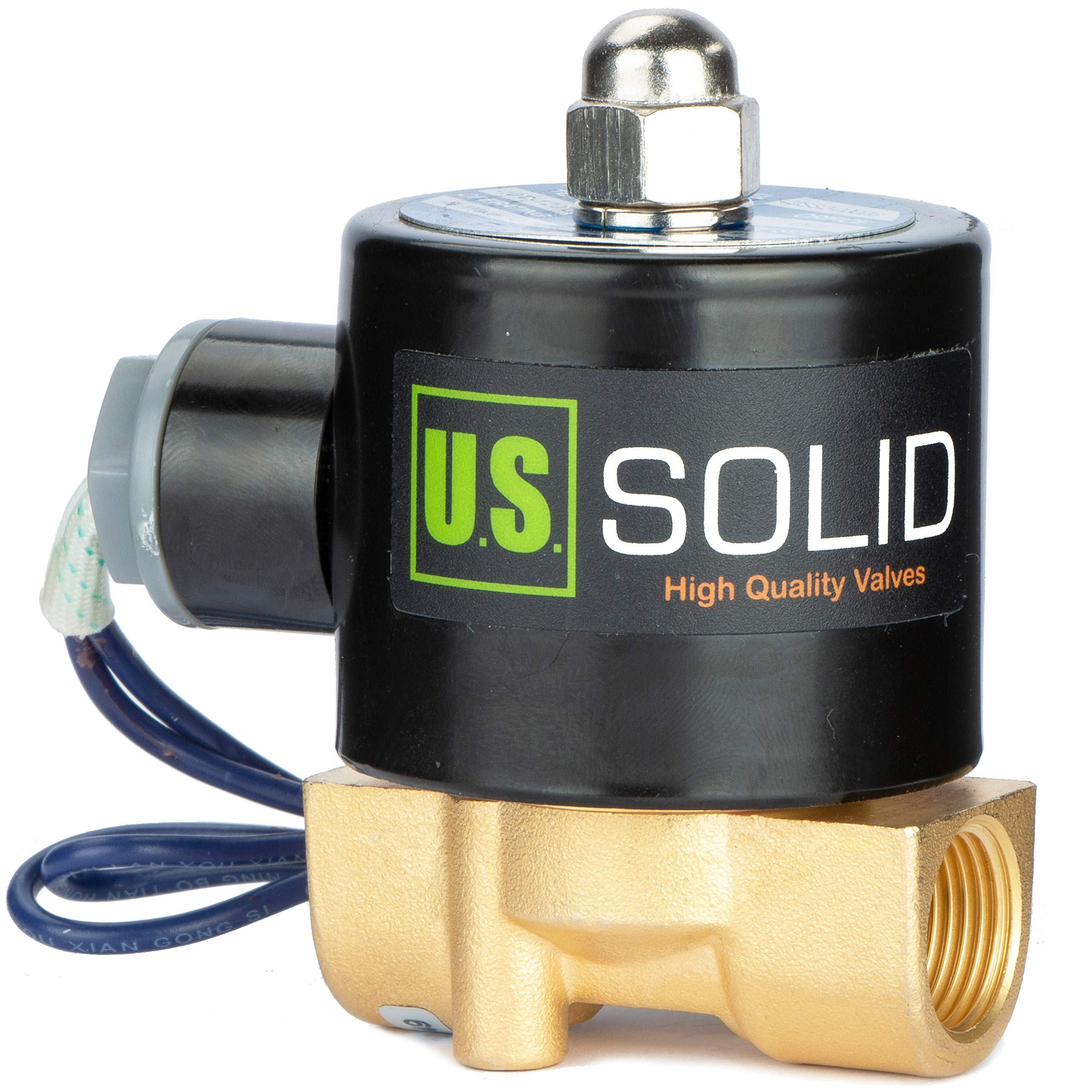 3/8'' Electric Solenoid Valve 12-VDC, VITON Gasket, Air, Gas, Fuel Normally Closed by U.S. Solid