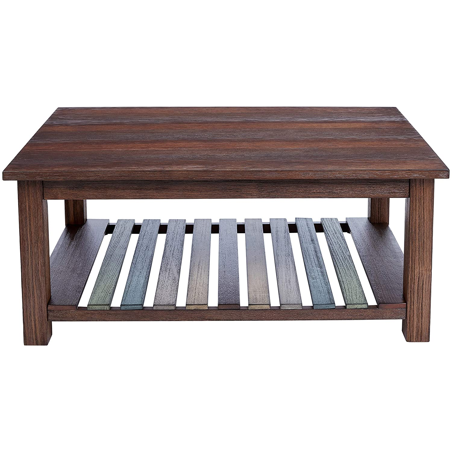 Ball Cast Densmore Wood Coffee Table with Lower Slatted Shelf, Burnt Sugar