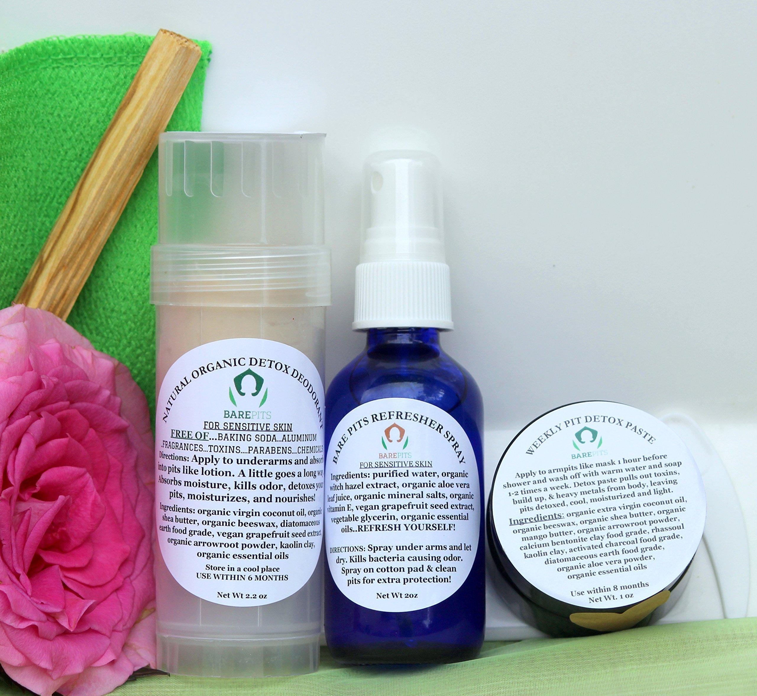Bare Pits Natural Organic Detox 3 Piece PIT KIT REG/XTRA Deodorant, Pit Refresher Spray, Detox Pit Paste NO Baking Soda.For Sensitive Skin
