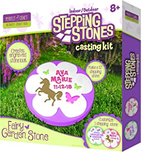 Perfect Craft Fairy Garden Customizable Stepping Stone Cast & Paint Kit with Perfect Cast Casting Material