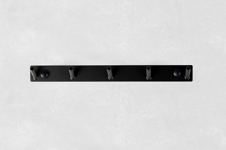 Acero Inoxidable Toallero de Acero Inoxidable en Negro Armario Ba/ño Gancho Ropa Set Soporte Toalla , 5 Ganchos Negro Ambrosya