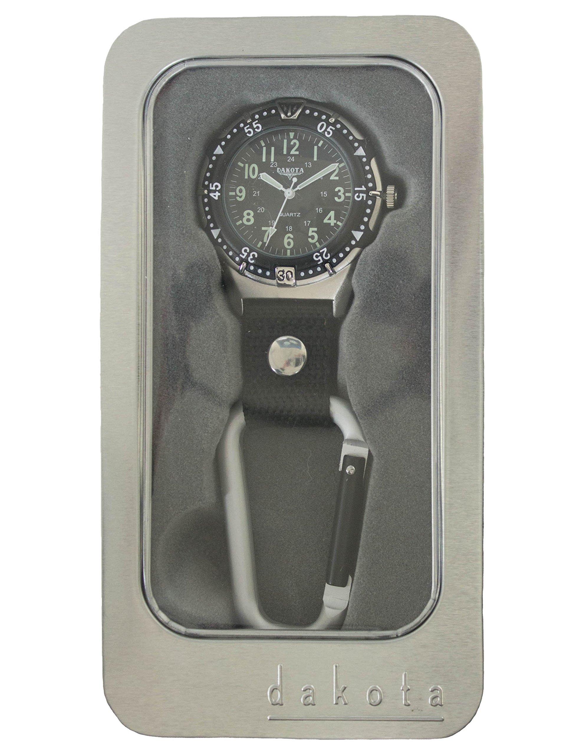 Dakota Watch Company Men's Aluminum Backpacker Clip Watch, Black by Dakota (Image #1)