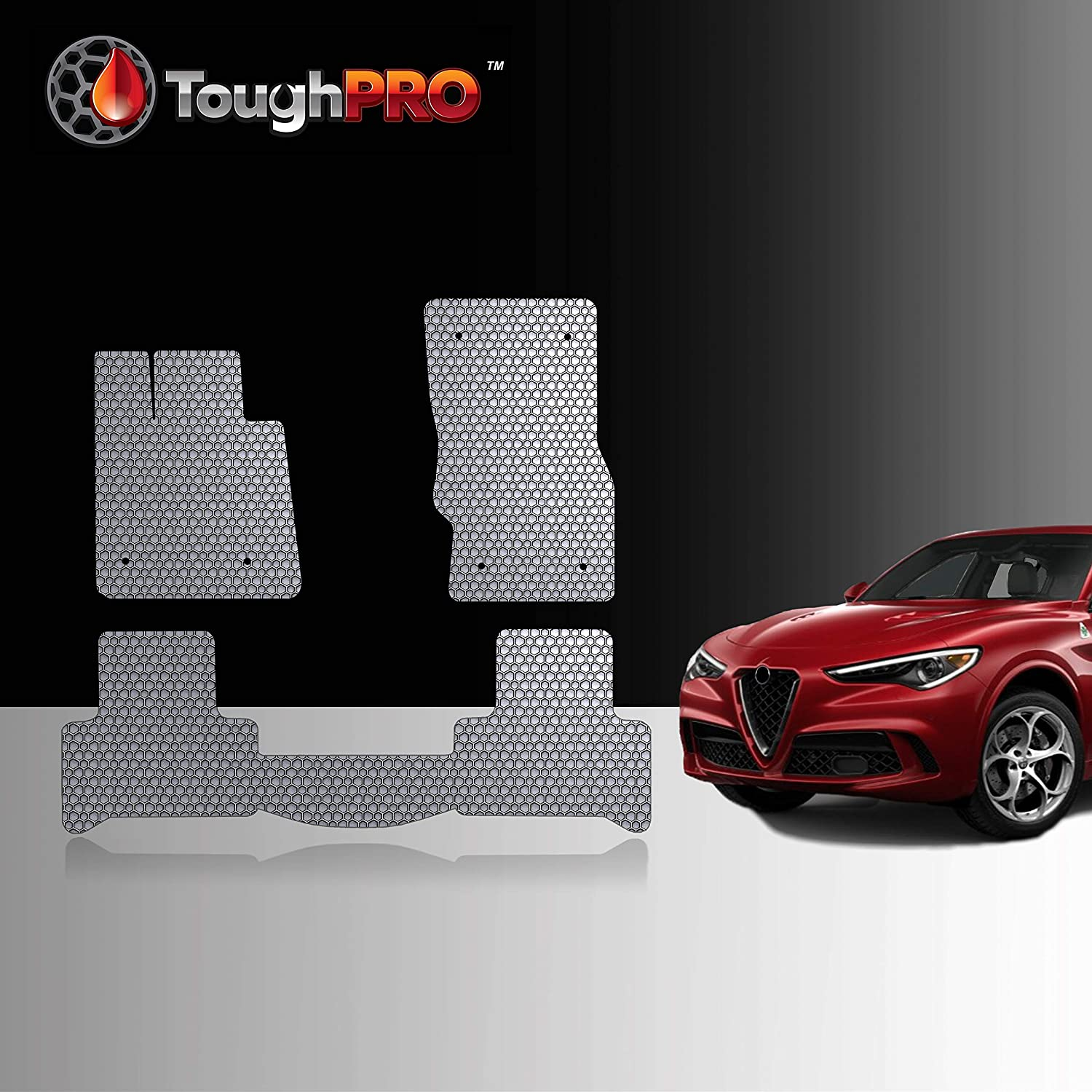 TOUGHPRO Floor Mat Accessories Set Compatible with Alfa Romeo Stelvio - All Weather - Heavy Duty - (Made in USA) - Gray Rubber - 2018, 2019, 2020 (Front Row + 2nd Row)