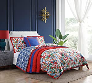 VCNY Home | Cottage Cove Bedding Collection| Day Lily Reversible Floral Comforter Set (Full/Queen, Red/Blue)