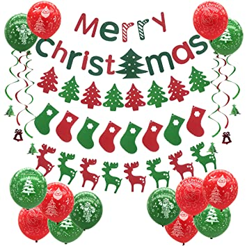 Christmas Party Decoration Trees Socks Elk Balloons Merry Chrismas Banner Bunting For Supermarket