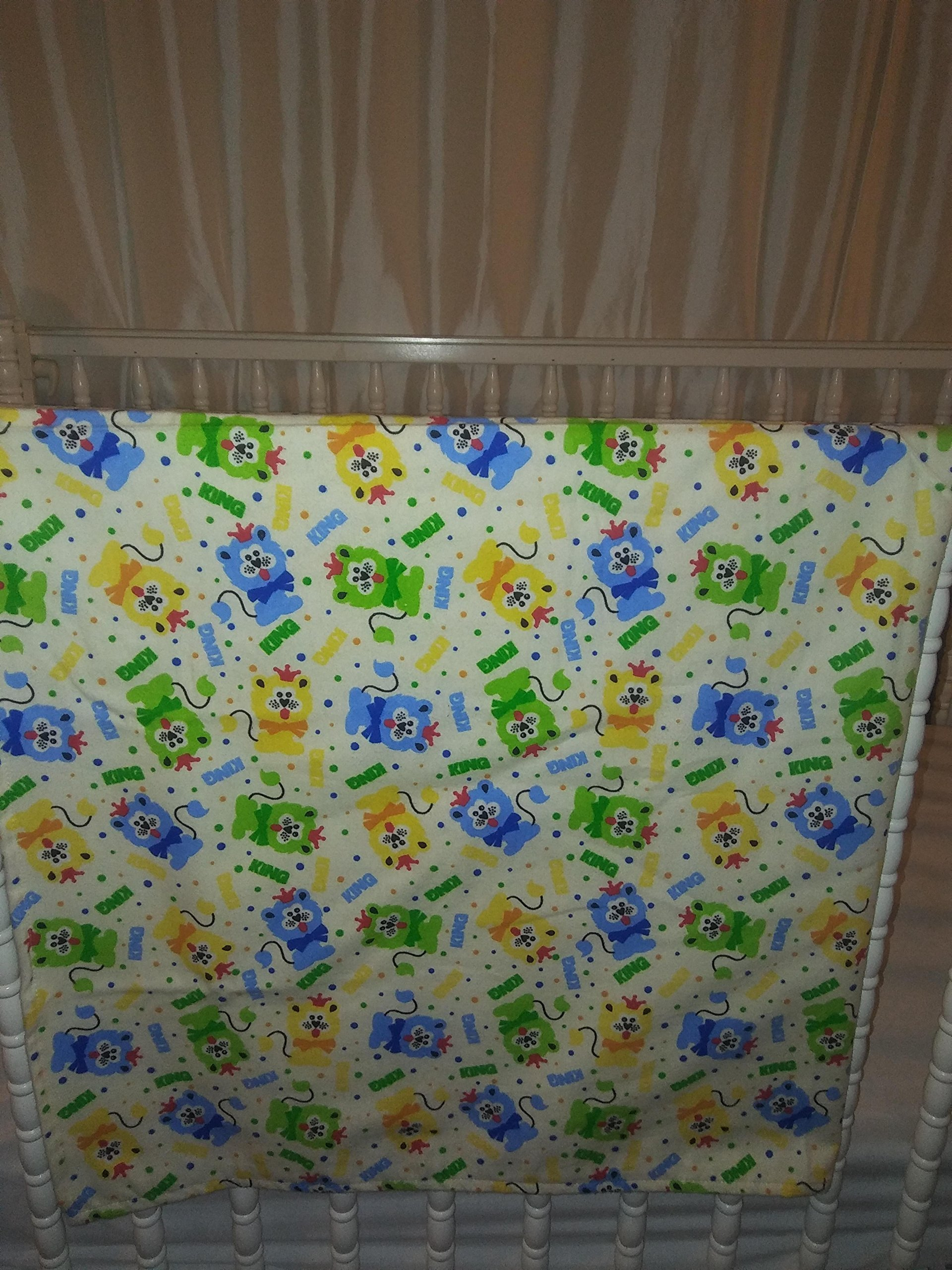 Large Cotton Flannel Receiving Baby Blanket Swaddle, flat top crib sheet 44''x 44'' Fabric cute lions, Also for dog or pet blanket