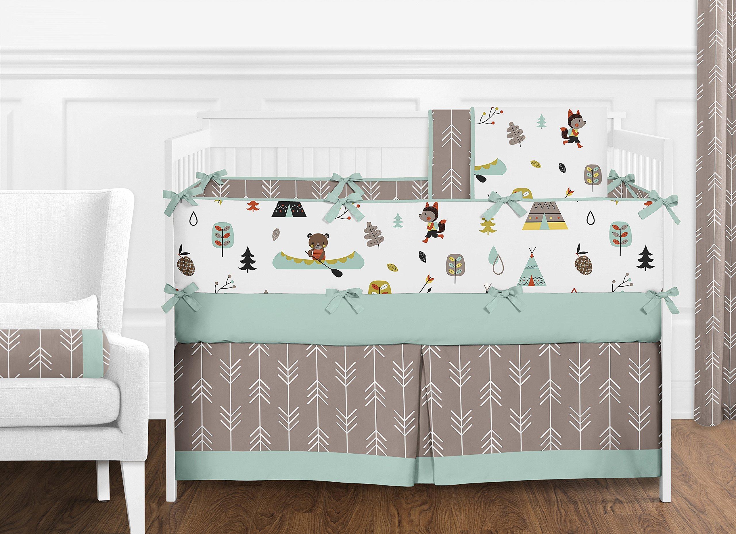Sweet Jojo Designs Aqua Blue and Gray Outdoor Adventure Teepee Baby, Childrens Lamp Shade by Sweet Jojo Designs