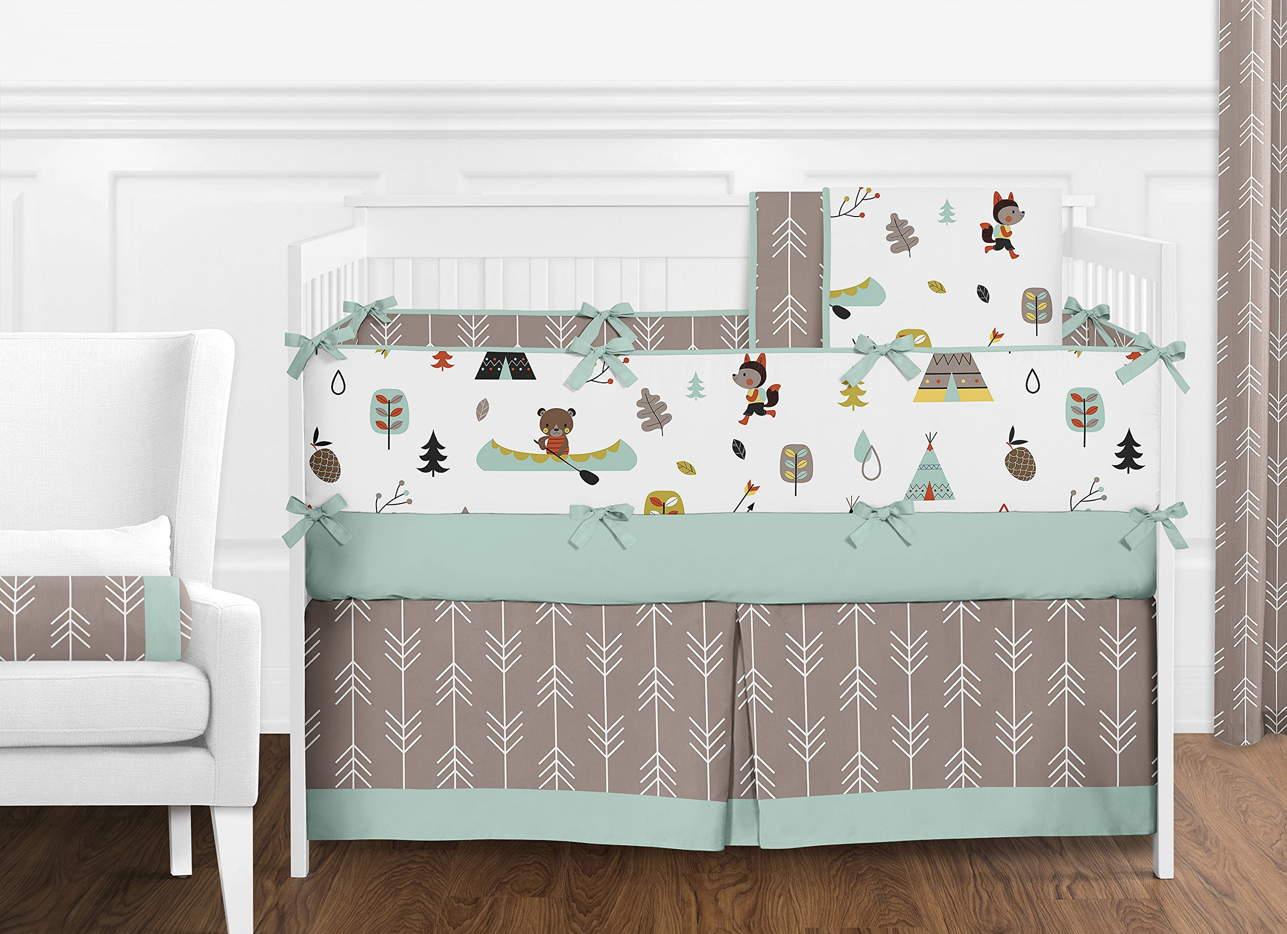 Sweet Jojo Designs Outdoor Adventure Collection Nature Fox Bear Animals Boys Window Valance