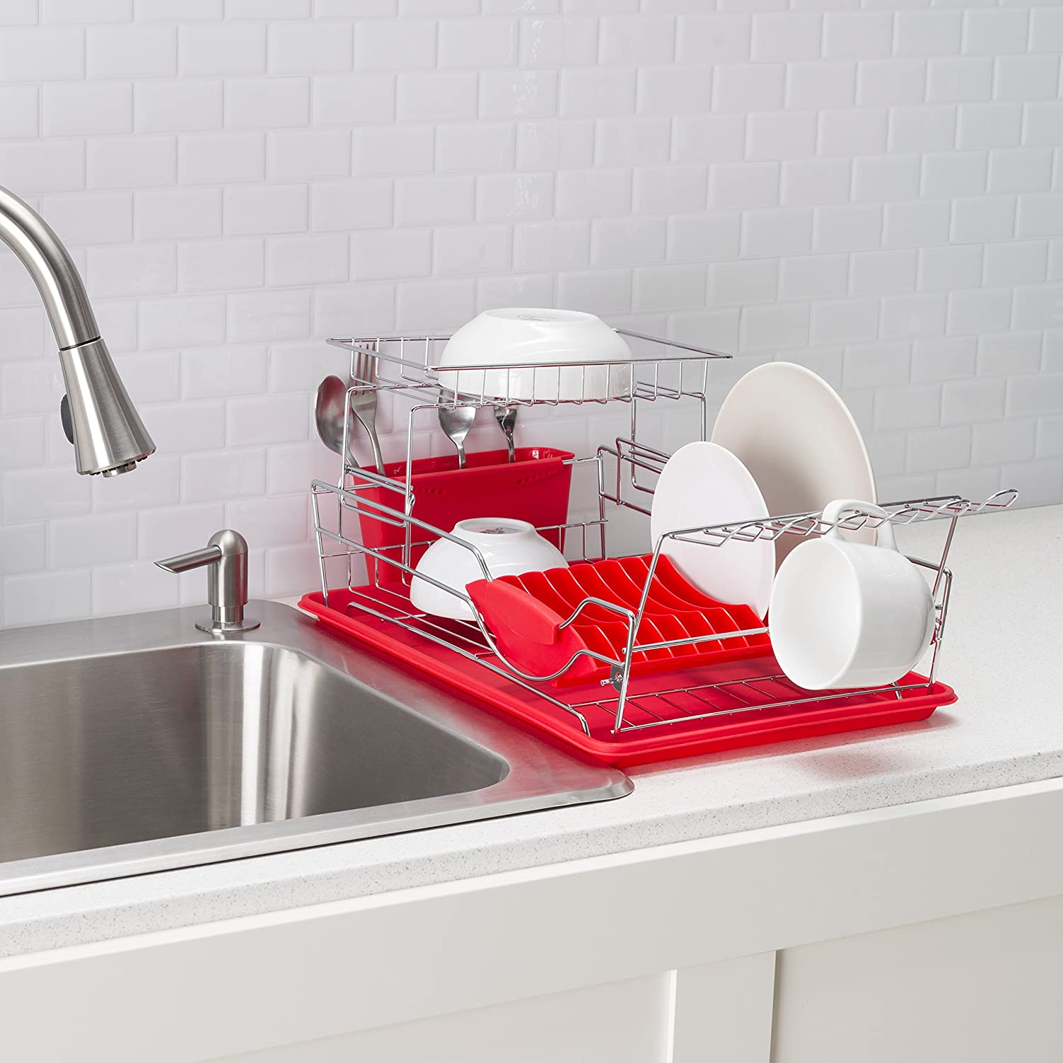 HDS Trading Corp DD44624 White Home Basics 2-Tier Stainless Steel Dish Rack with Drainboard Utensil Holder and Sturdy Slotted Dish Holder Drainer Side Mounted Mug Stand