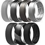 ThunderFit Silicone Wedding Rings for Men Breathable Airflow Inner Grooves - 7 Rings / 4 Rings / 1 Ring Step Edge Sleek…