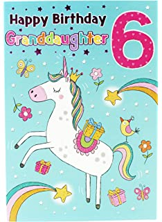 Happy 6th Birthday Unicorns Greetings Cards Granddaughter Milestone Keepsakes