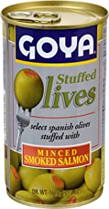 Goya Foods Manzanilla Olives Stuffed with Salmon, 5.25 Ounce (Pack of 12)