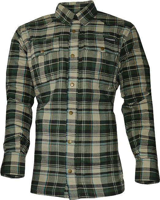 King Kerosin B4088 – Kevlar Biker Camisa Camisa de leñador – Check Wood Cutter Camiseta Verde