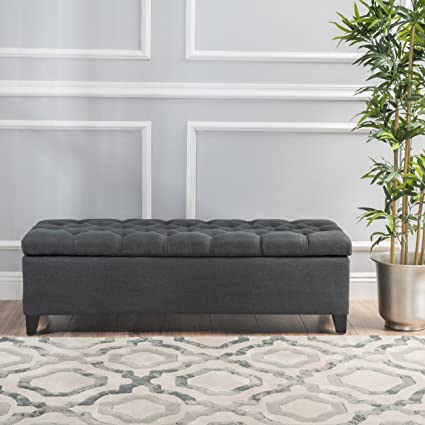 Christopher Knight Home 299768 Living Charleston Dark Grey Tufted Fabric Storage  Ottoman, Dimensions: 17.75