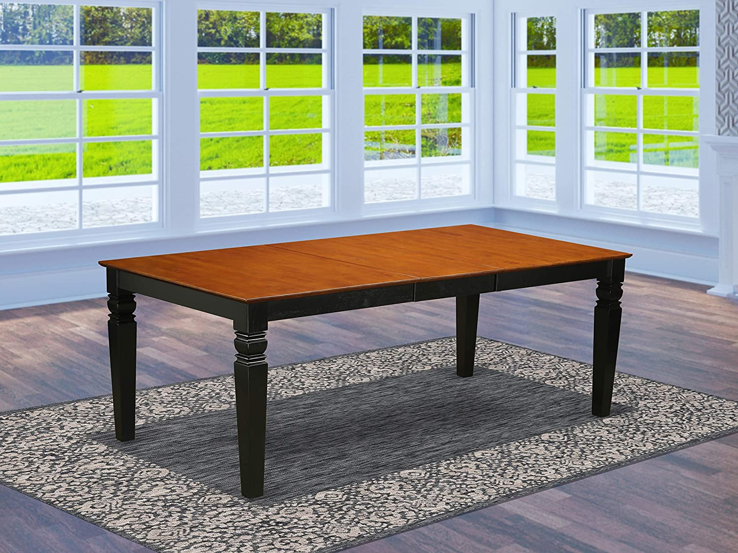 Logan Dining Table with Wood Seat – Black Cherry Finish.