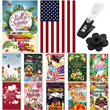 "Season Garden Flags - Set of 12 Garden Flags - Double Sided Outdoor Holidays Yard Flags - Made of Polyester with Anti-Wind Clip & Rubber Stopper Included – Holidays Flags for 12 Months - 12""x18"" Size"