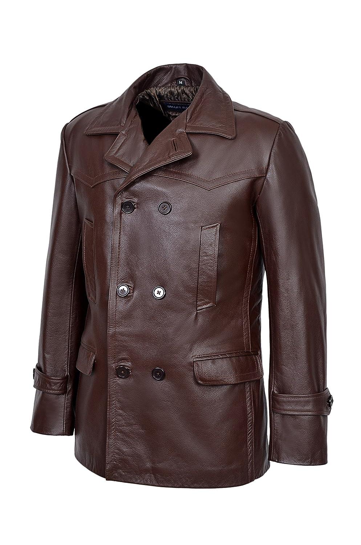 Smart Range Mens Kriegsmarine German Ww2 Dr Who Reefer Hide Leather Jacket Coat