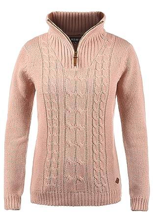 91a5496708f5b2 DESIRES Carry Damen Winter Strickpullover Troyer Grobstrick Pullover mit  Stehkragen, Größe:XS, Farbe