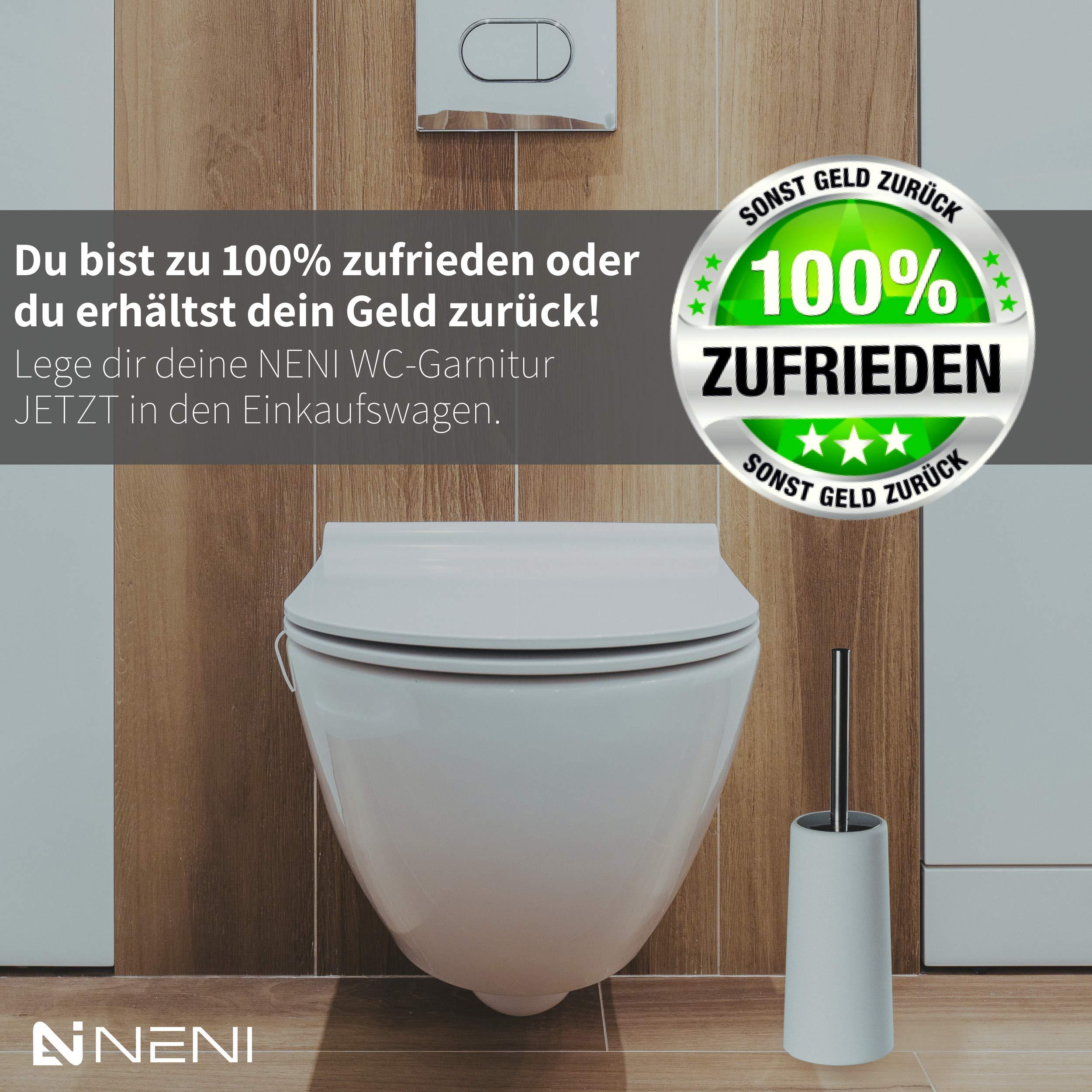 NENI WC-Bürste mit Halter in Weiß - Stabile Toilettenbürste mit rostfreiem Edelstahl-Griff - Moderne WC-Garnitur mit Geruchsstopp-Design