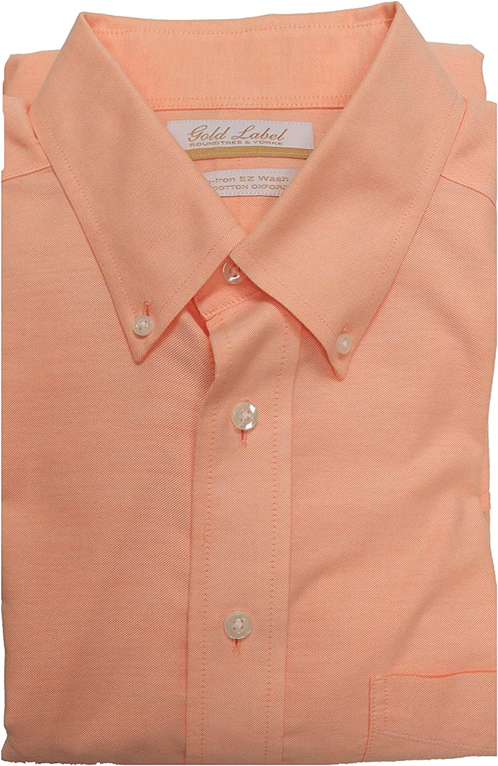 Gold Label Roundtree /& Yorke Non-Iron Regular Button Down Solid Dress Shirt S65DG012 Peach