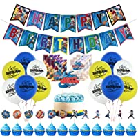 Beyblade Birthday Party Supplies, Include Banner Cake Topper Balloons Invitations Card for Beyblade Fans Kids Baby…