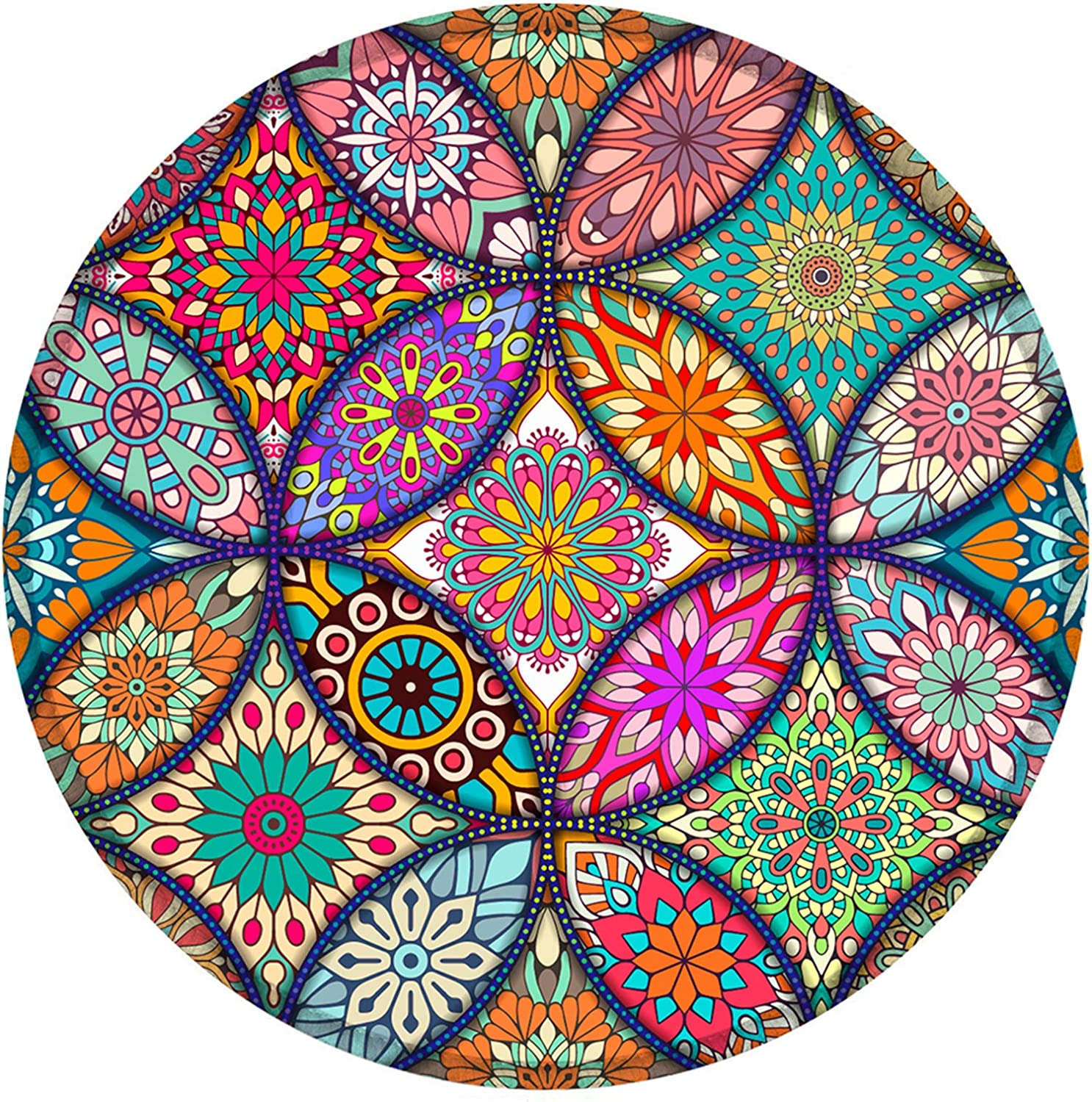 Nakapa Mouse Pad, Personalized Printed Mouse Mat, Non-Slip Rubber Base Mousepad for Laptop, Computer 7.9x7.9 inches (Colorful Mandala)