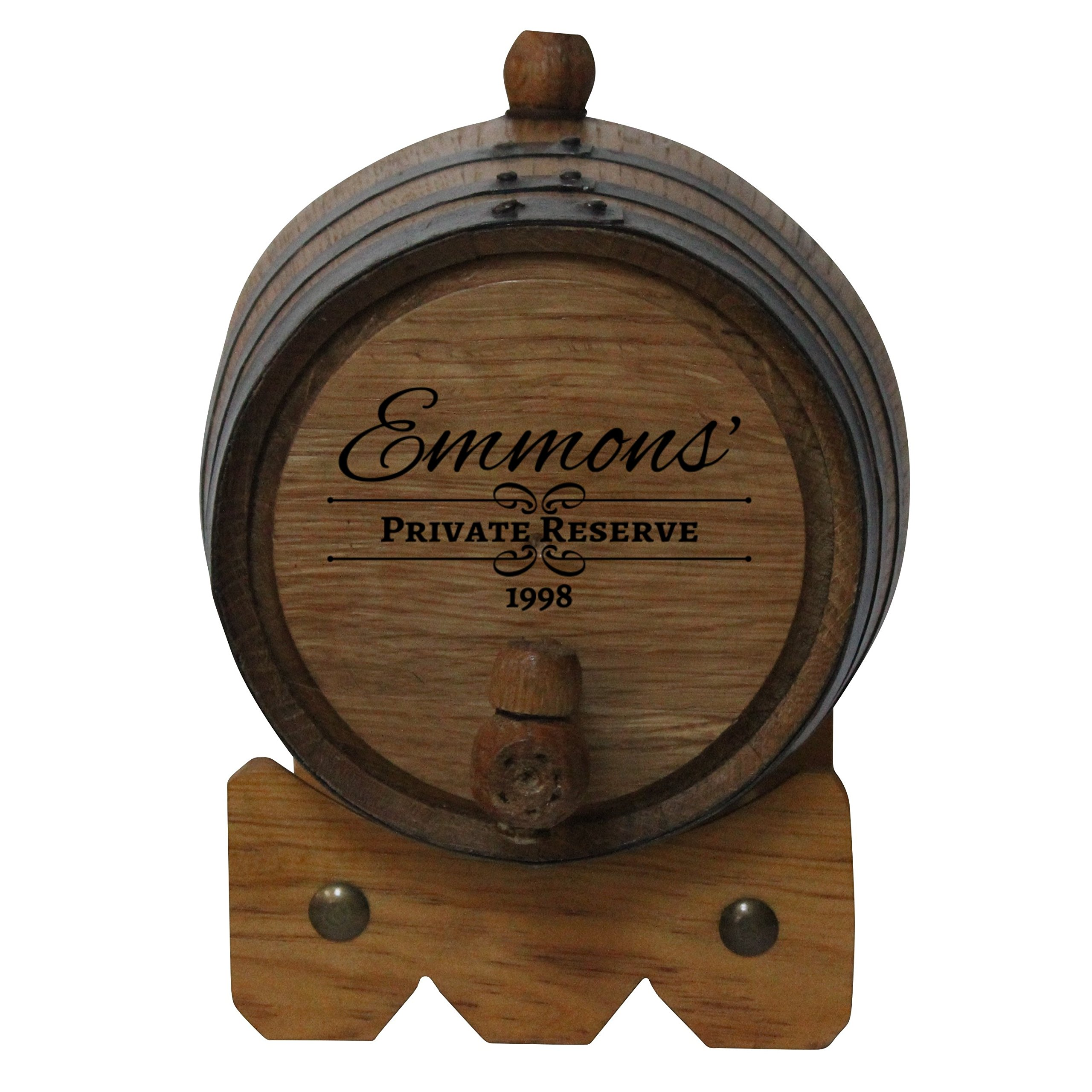Personalized 2-Liter American White Oak Barrel | Custom Laser Engraved | Deep South Barrels for Aging Whiskey, Rum, Tequila, Bourbon and Wine